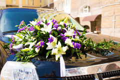 Close-up of Wedding Car Decorated with Flowers Royalty Free Stock Photos