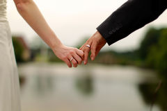 Newly Weds Holding Hands Stock Images