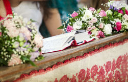 Close up on wedding decoration in a church Stock Image