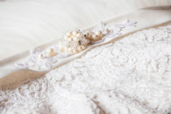 Close up of the wedding dress detail. Photo of Close up of the wedding dress detail Royalty Free Stock Photography