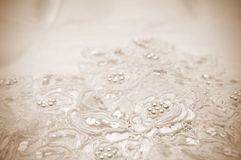 Close-up of wedding dress details Stock Photo