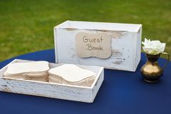 Close up of wedding guest book on the table Stock Photos