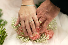 Close up of wedding rings. Holding hands with wedding rings over flowers Stock Images