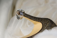 Close up of wedding rings on bride& x27;s shoes Stock Photography
