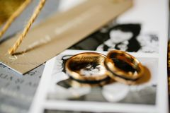 Close up with wedding rings stock photography