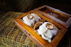 Close up with wedding rings royalty free stock photo