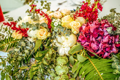 Close-up wedding table beautiful flower decoration royalty free stock photo