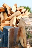 Closeup of wedge of wood splitter royalty free stock photography
