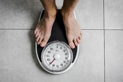 Close-up Weighing Scale. Close-up Weichling Scale Diating concept in badroom stock photography