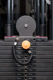 Close-up of weight steel stack in a fitness club Stock Images