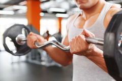 Close up of weightlifter with barbell Royalty Free Stock Photo