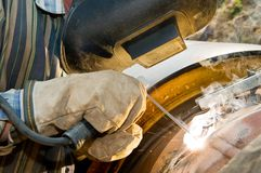 Close-up welder at work Royalty Free Stock Photography