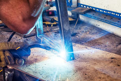 A close-up of welding a metal Royalty Free Stock Photos