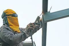 Welding metal for make roof structure stock photo