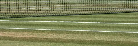 Close up of well manicured grass tennis court with net in the background at Wimbledon, London UK. Close up of well manicured grass tennis court with net in the stock images