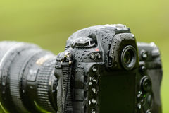 Close up of wet pro camera Stock Photography