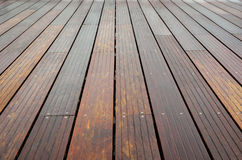 Close-up of the wet wooden flooring Royalty Free Stock Photos