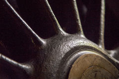 Close up of wheel of old steam locomotive Royalty Free Stock Photo
