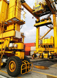 Close Up Wheel Rubber Tried Gantry Cranes RTG Stock Photography