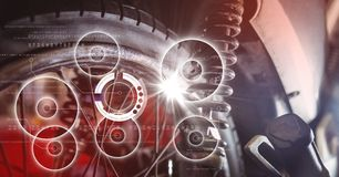 Close up of wheel with white interface and flare Royalty Free Stock Images