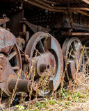 Close up wheels on abandoned stream powered locomotive. Virginia Museum Of Transportation Royalty Free Stock Photo