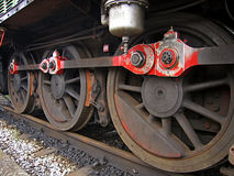 Close-up of wheels of a locomotive Stock Photo