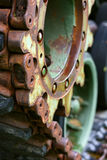 Close up on Wheels of Military Tank Stock Photography