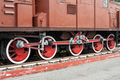 Close up on wheels of old locomotive Royalty Free Stock Images