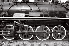 Close-up of wheels of old steam train Stock Photography