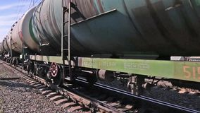 Close up of wheels of train of Russian Railway stock video footage