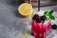 Close-up of whiskey glass of berry pink cocktail and a metal shaker. Beverage with mint, lemon and blackberries on a Stock Images