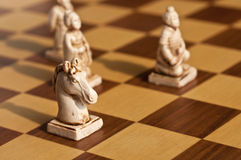 Close up of white antique chess pieces Stock Photography