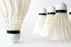 Close-up of white badminton shuttlecocks Stock Images