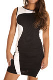 Close up white black fitted dress Stock Image
