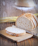 Close-up of white bread on wooden board Royalty Free Stock Images
