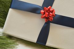 Close up of white canvas wrapped in navy blue ribbon, with red bow, on pine needles. Studio shot royalty free stock photos