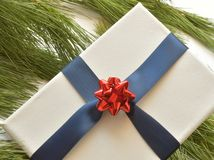 Close up of white canvas wrapped in navy blue ribbon, with red bow, on pine needles. Studio shot stock photo