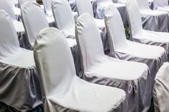 Close up white chairs set up line for seminar Royalty Free Stock Photos