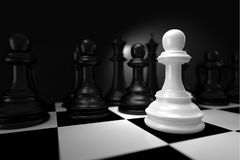 Close up of White Chess Battle with Black Chess  on Chessboard. Close up of 3d render White Chess Battle with Black Chess  on Chessboard as Strategy Sport Game Stock Photo