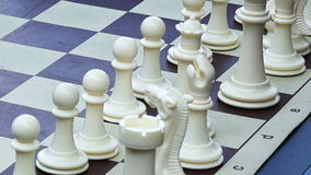 Close up on white chess pieces stock video