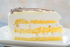 Close up of a white chocolate cream cake Stock Photo