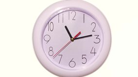 Close up of an white clock on white background. Close up of an office clock on white background with clipping path stock footage