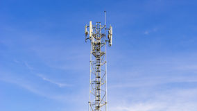 Close up white color antenna repeater tower Stock Photos