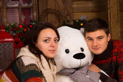 Close up White Couple Hugging Bear Doll Stock Photography
