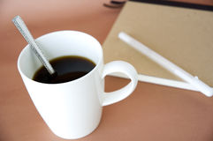 Close up white cup of coffee Royalty Free Stock Image