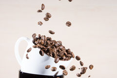 Close up of white cup standing on black cup with falling down brown roasted coffee beans. Stock Images
