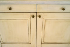 Close-up white cupboard wooden doors Royalty Free Stock Photos