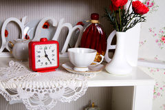 Close-up of white decorated cupboard Stock Image