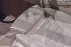 The close up of white driver seat cushion.  royalty free stock photo