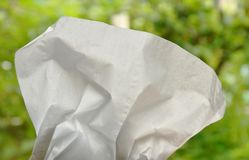 White facial tissue paper crumpled texture and background. Close up of white facial tissue paper crumpled texture and background Stock Image